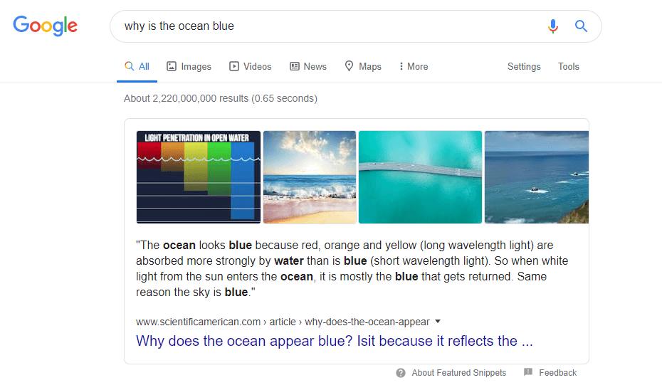 """esempio di """"Snippets"""" in primo piano su Google per """"perché-è-l'oceano-blu-why-ocean-blue"""""""